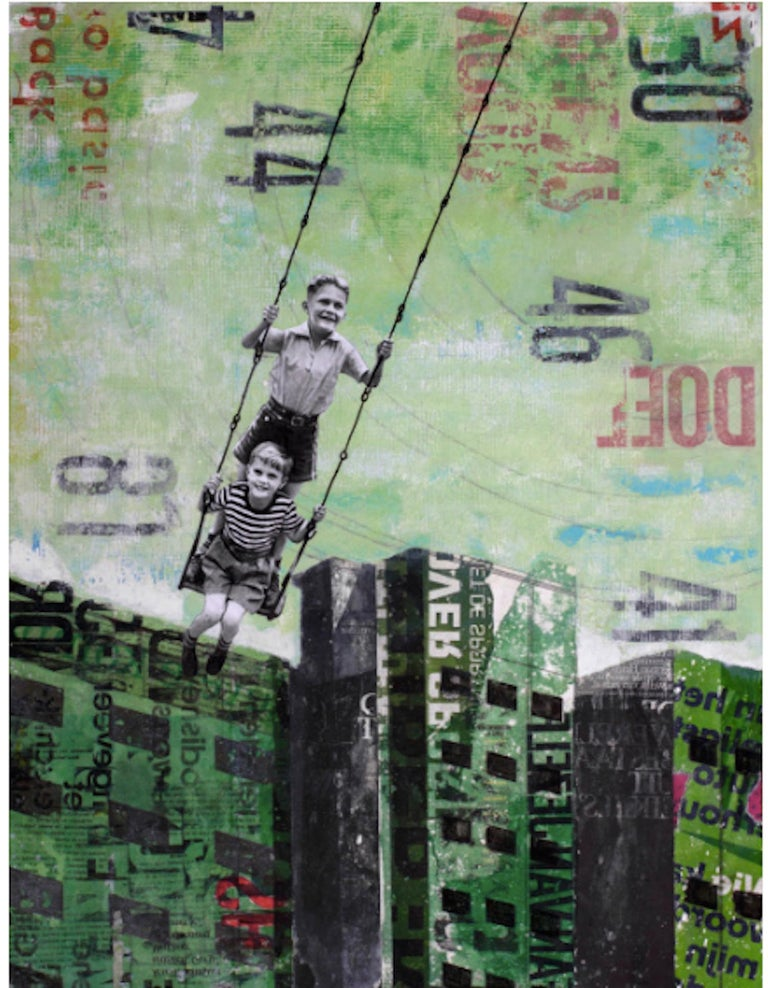 Deb Waterman Figurative Painting - Tuesday Swing - street art urban landscape grey and green painting on paper