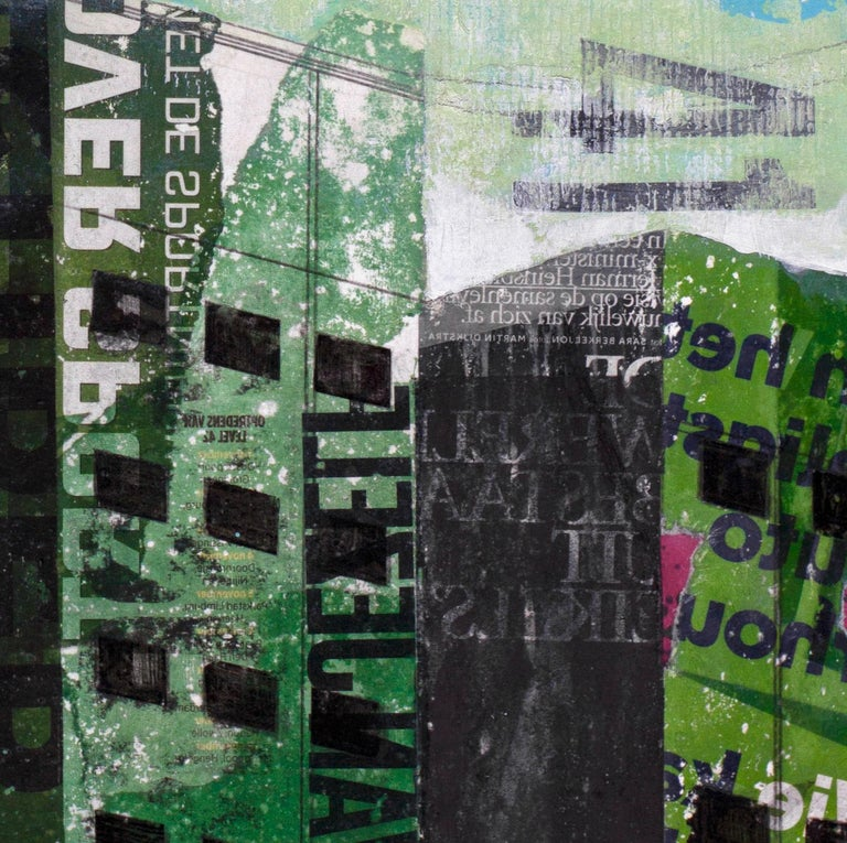Tuesday Swing - street art urban landscape grey and green painting on paper - Painting by Deb Waterman