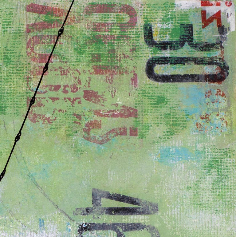Tuesday Swing - street art urban landscape grey and green painting on paper - Street Art Painting by Deb Waterman