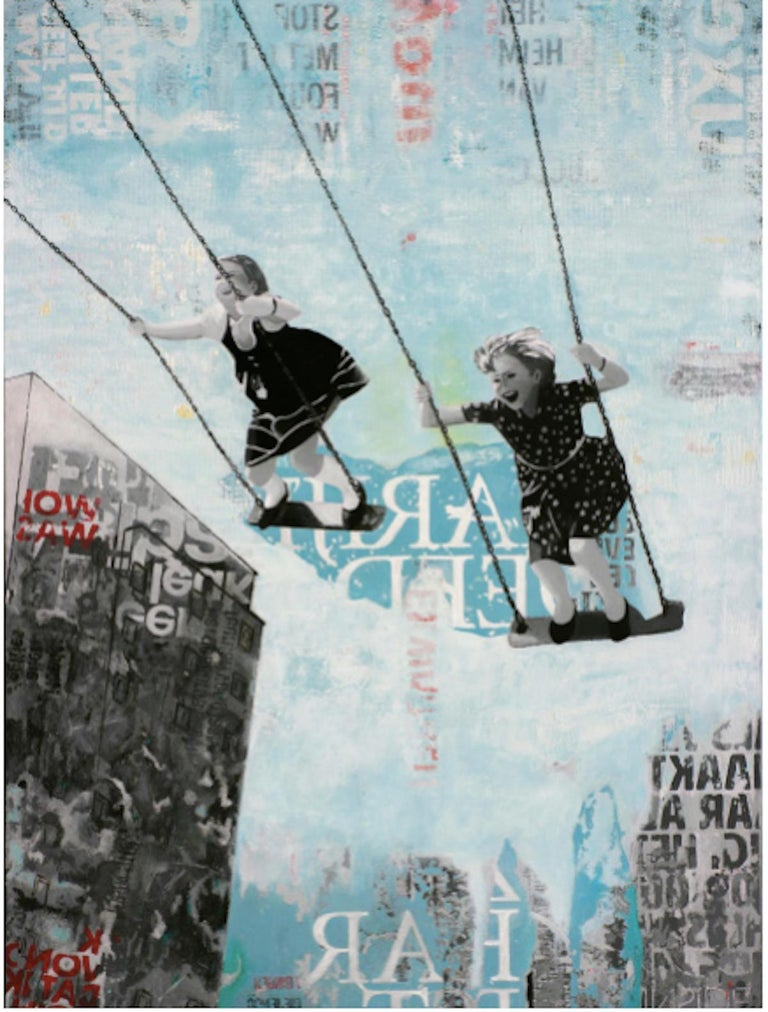 Deb Waterman Figurative Painting - Saturday Swing - joyful street art urban landscape grey and blue painting
