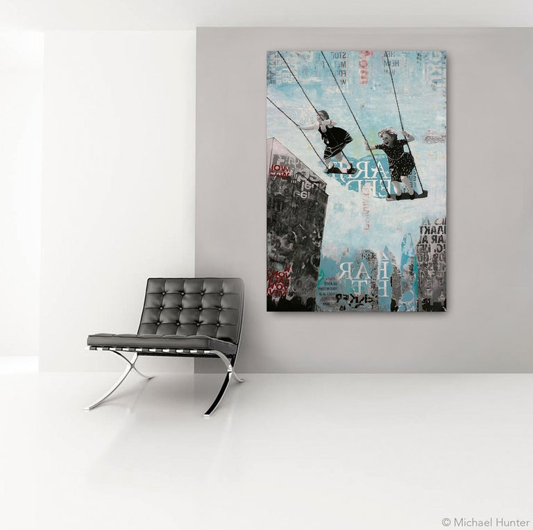 Saturday Swing - joyful street art urban landscape grey and blue painting - Painting by Deb Waterman