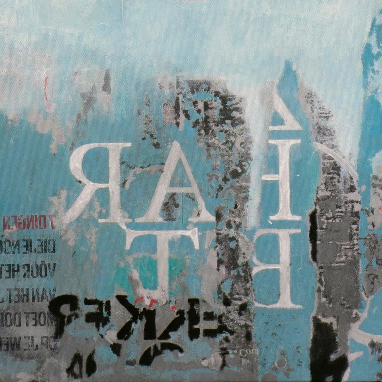 Saturday Swing - joyful street art urban landscape grey and blue painting For Sale 1