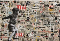 Target- street art urban landscape with boy and vintage adds- collage on paper
