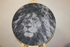 Black and White Lion- Animal 3D unique sculptural piece with thread