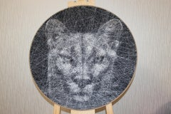 Black and Puma Lion- Animal 3D unique sculptural piece with thread