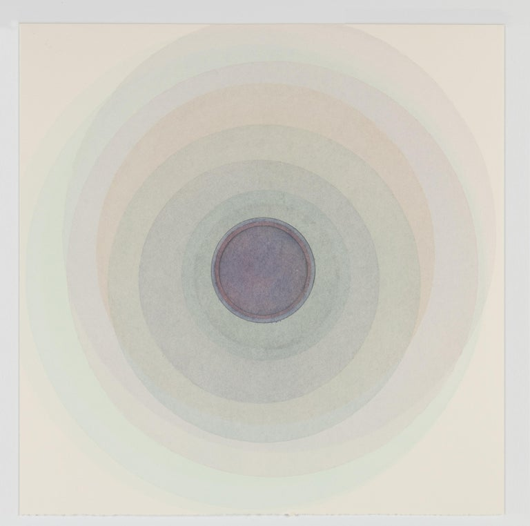 Evan Venegas Abstract Drawing - Coaxist 10519 - Soft pastel blue abstract geometric circle watercolor on paper