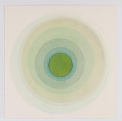 Coaxist 10719 - Soft pastel green abstract geometric circle watercolor on paper