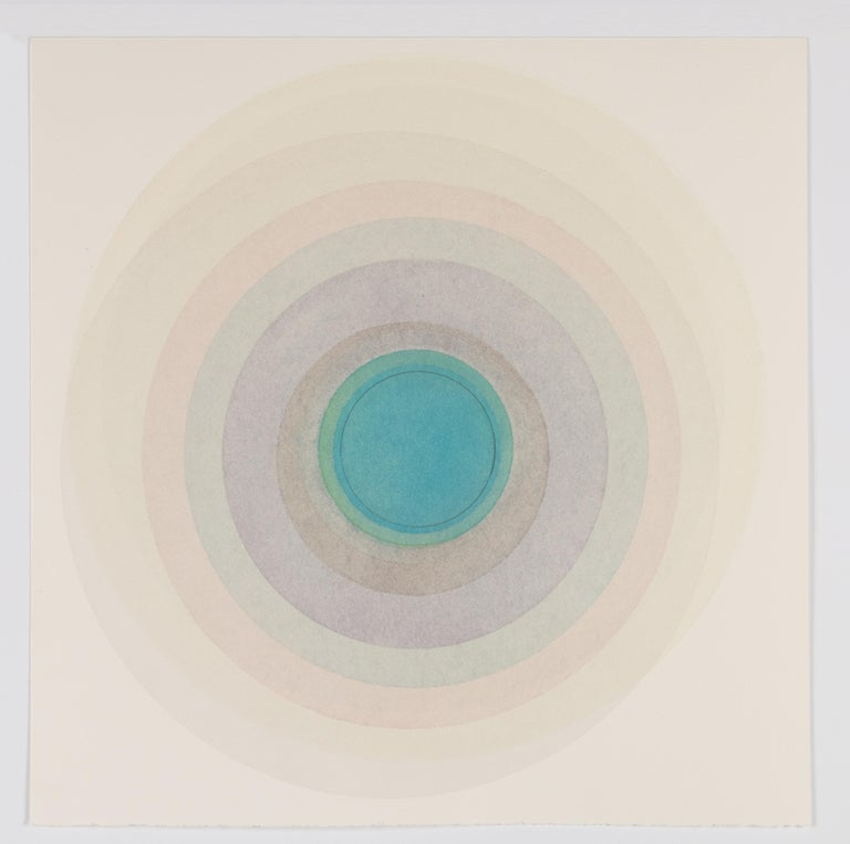 Evan Venegas Abstract Drawing - Coaxist 10819 - Soft pastel color abstract geometric circle watercolor on paper