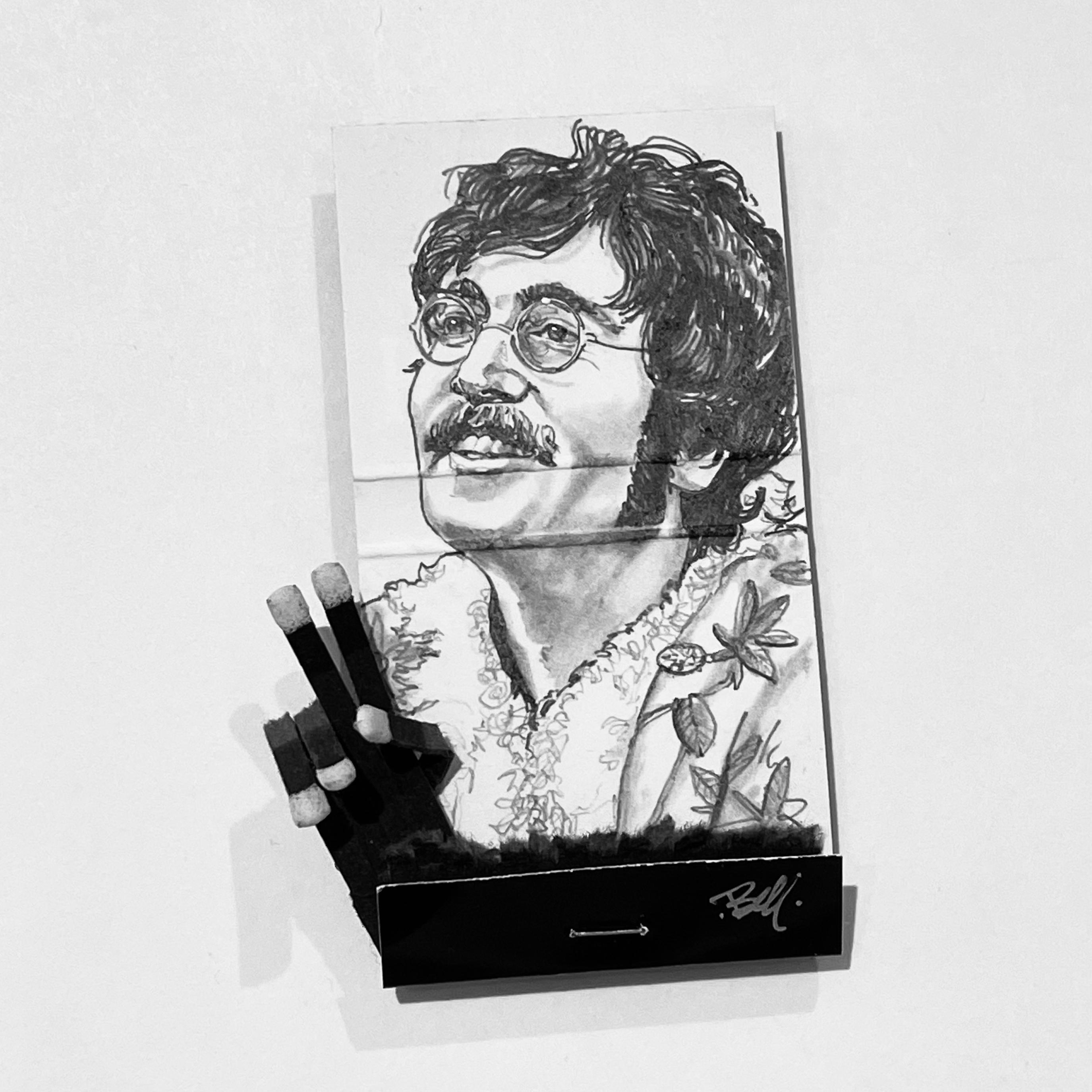 John Lennon - figurative black and white portrait pencil drawing on matchbox