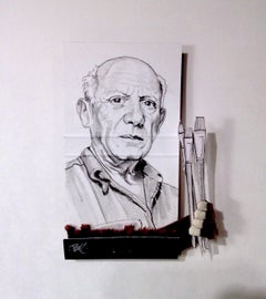 Pablo Picasso - figurative black and white portrait pencil drawing on matchbox
