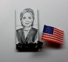 Hillary Clinton- figurative black and white drawing portrait on matchbox