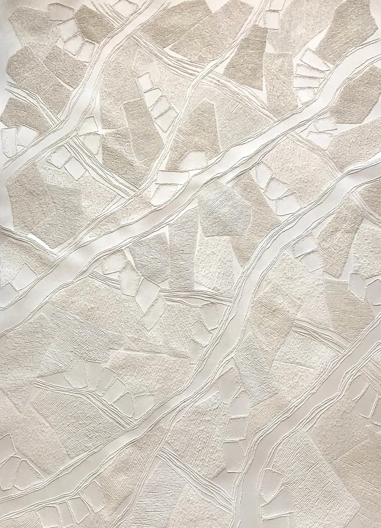 Antonin Anzil Abstract Sculpture - untitled 1 - intricate beige3D abstract landscape drypoint drawing on paper