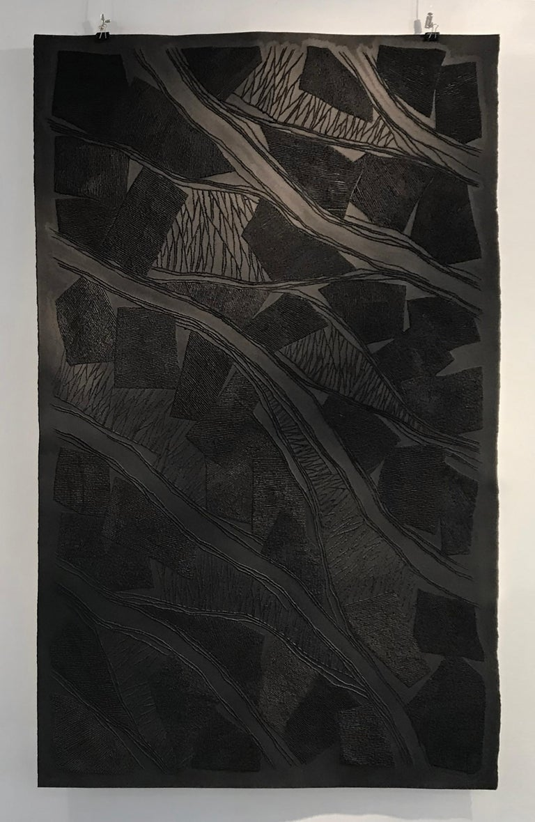 Antonin Anzil Abstract Sculpture - Black 1 - intricate black 3D abstract landscape drypoint drawing on paper