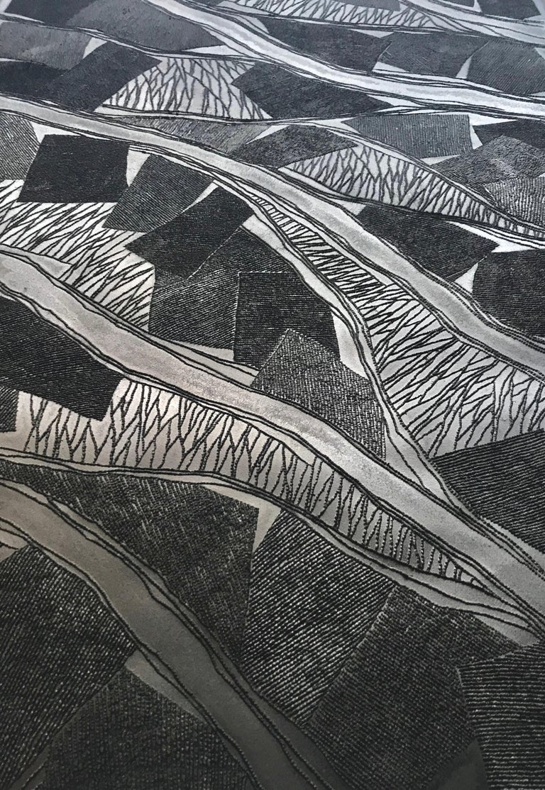 Black 1 - intricate black 3D abstract landscape drypoint drawing on paper  - Sculpture by Antonin Anzil
