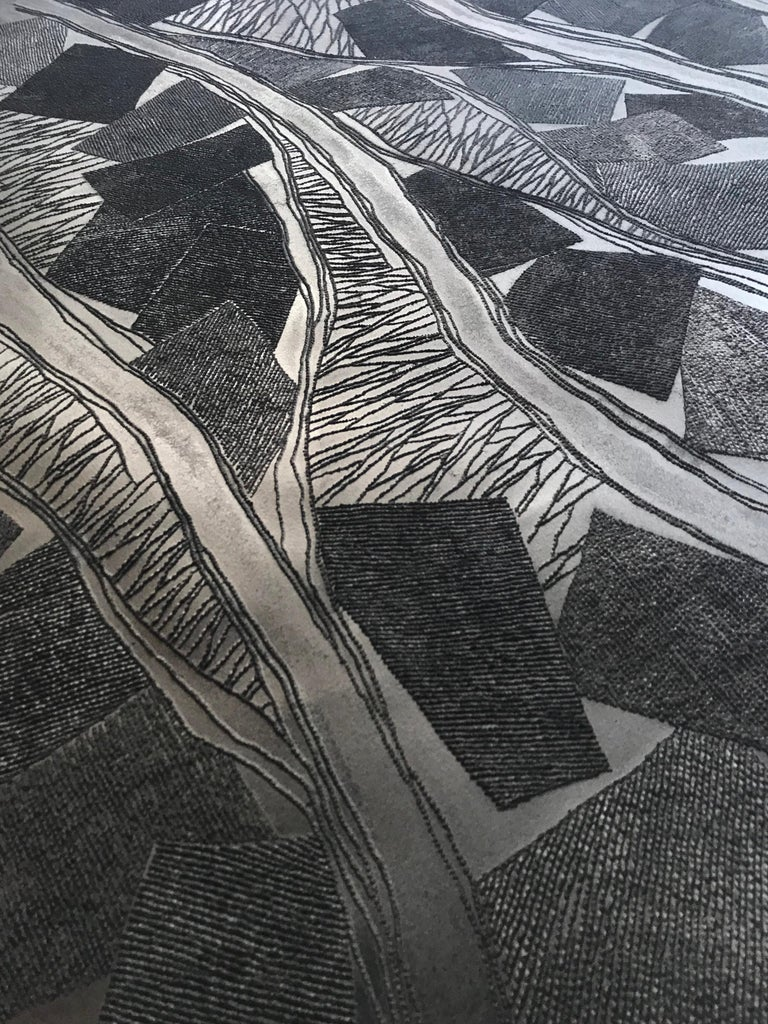 Black 1 - intricate black 3D abstract landscape drypoint drawing on paper  - Abstract Geometric Sculpture by Antonin Anzil