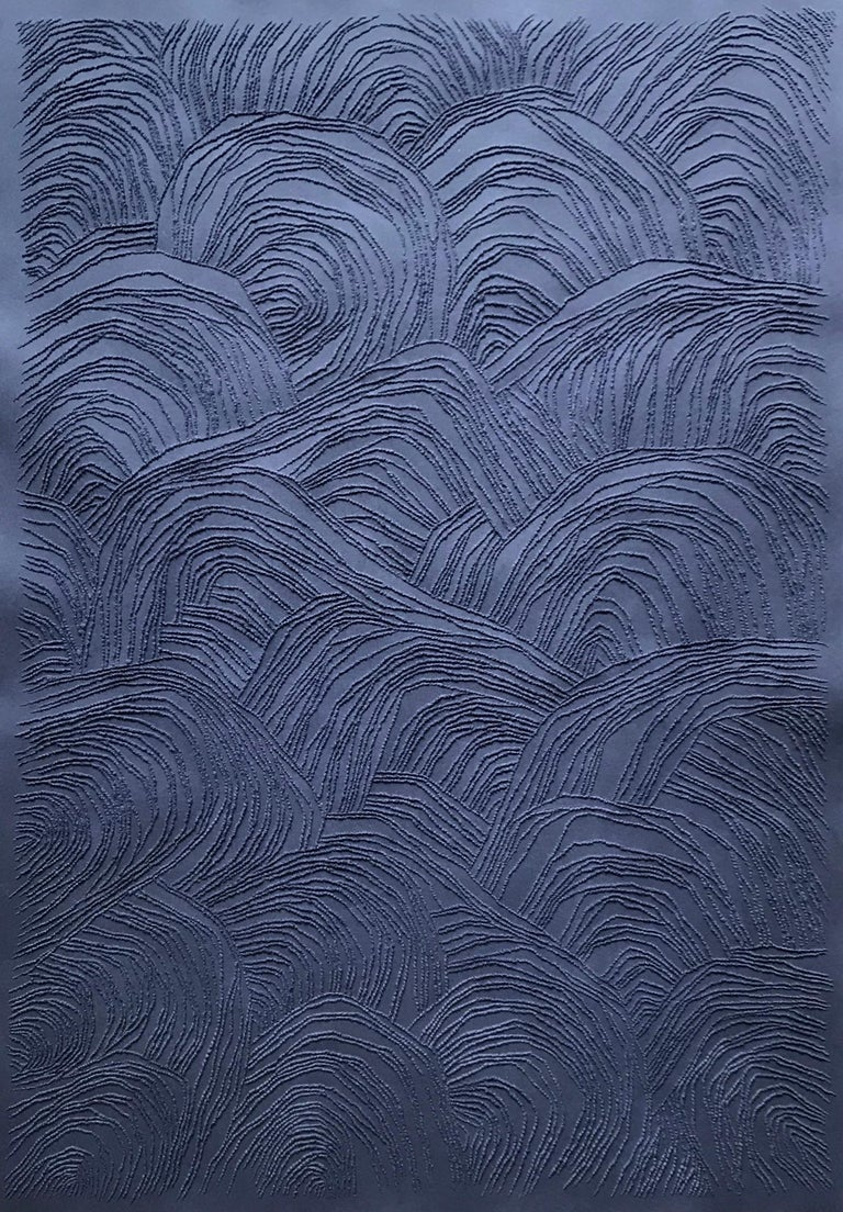Antonin Anzil Abstract Sculpture - Blue 1 - intricate blue 3D abstract landscape drypoint drawing on paper