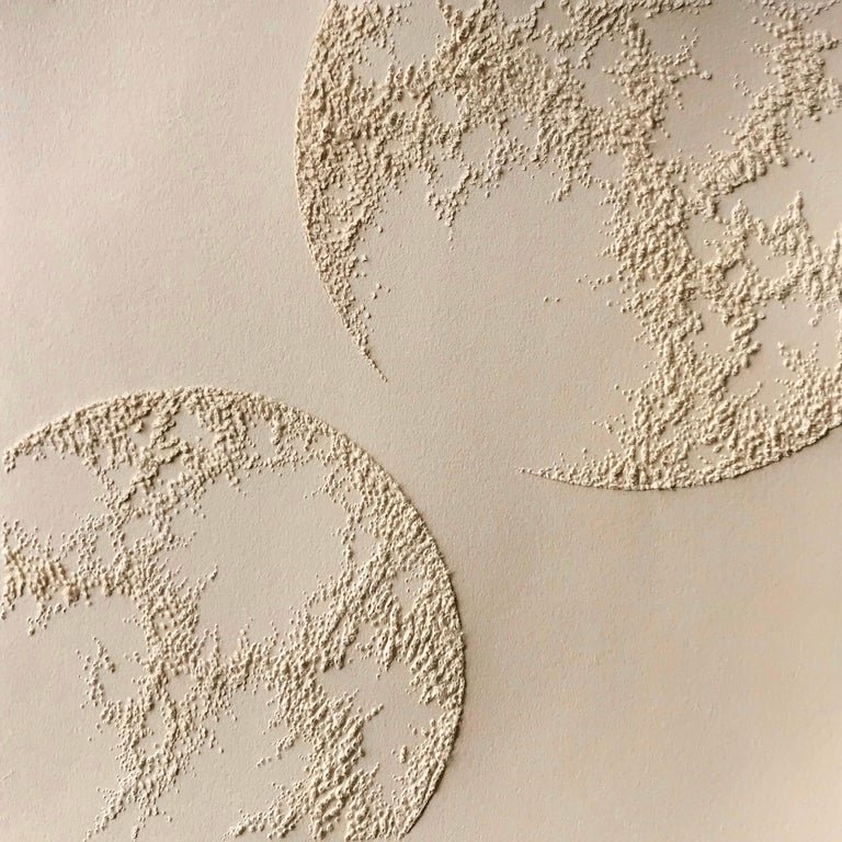Antonin Anzil Abstract Sculpture - Circle 1 - intricate beige gold 3D abstract geometric circle drawing on paper