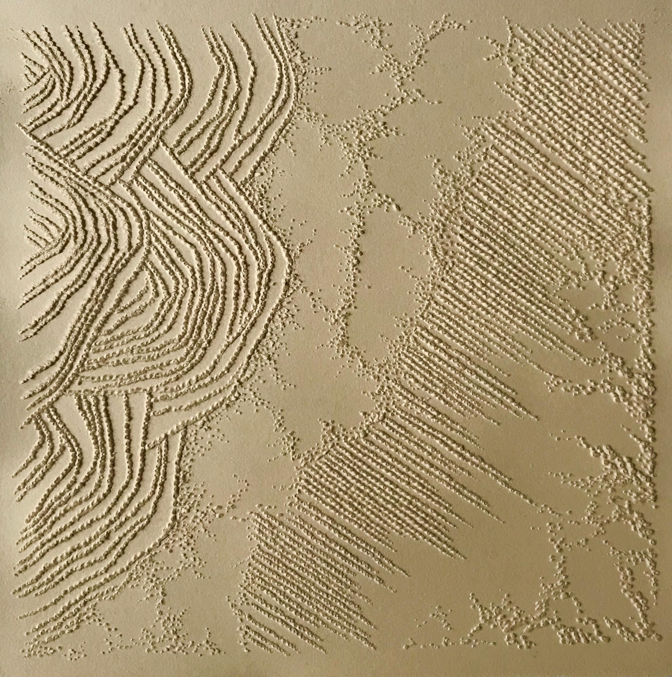 Ochre gold 3 - intricate 3D abstract landscape seascape drawing on paper