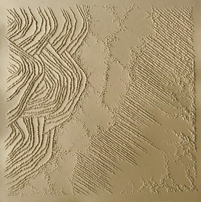 Antonin Anzil Abstract Sculpture - Ochre gold 3 - intricate 3D abstract landscape seascape drawing on paper