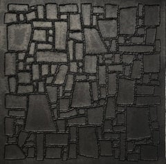Black 5 - intricate 3D abstract geometric landscape drawing on paper