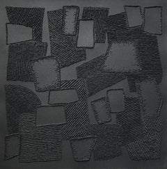 Black 6 - intricate 3D abstract geometric landscape drawing on paper