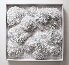 White Burst - 3D organic feel contemporary abstract mural sculpture in foam