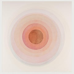 Coaxist F1320 - Soft pastel red abstract geometric circle watercolor on paper