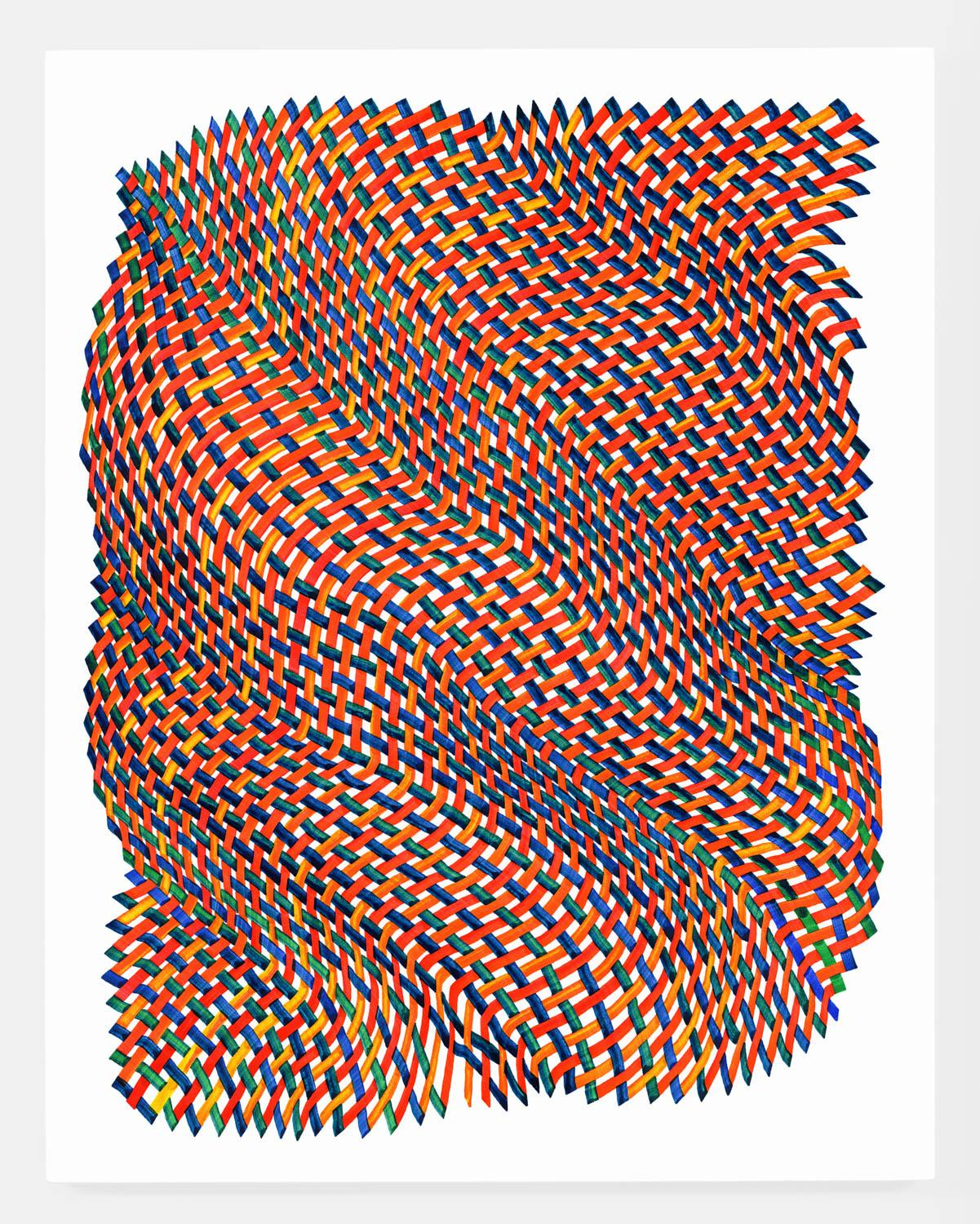 Woven lines 38 - abstract red blue green yellow dominant ink drawing on paper