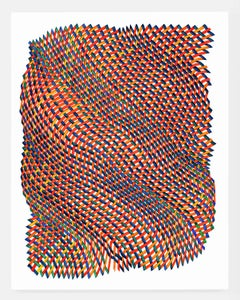 Woven lines 38- abstract red blue green yellow dominant ink drawing on paper