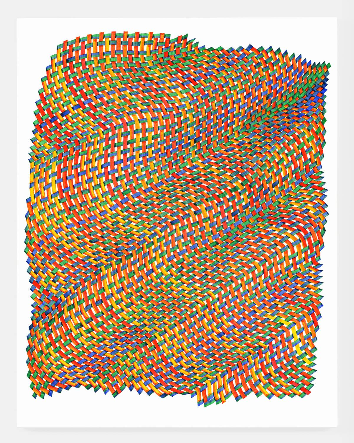 Woven lines 39 - abstract red blue green yellow dominant ink drawing on paper