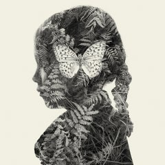 Butterfly Mind - black and white portrait and nature multi exposure photograph