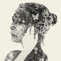 Collector - black and white portrait and nature multi exposure photograph