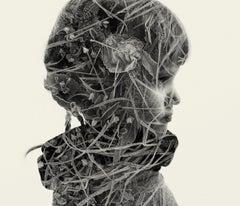 Dearest - black and white portrait and nature multi exposure photograph