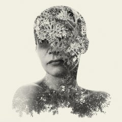 Guardian - black and white portrait and nature multi exposure photograph