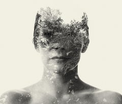 Miss Autumn - black and white portrait and nature multi exposure photograph