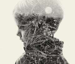 Moon child - black and white portrait and nature multi exposure photograph