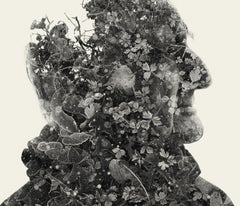 The ancestor - black and white portrait and nature multi exposure photograph