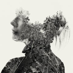 Frost and fog- black and white portrait and nature multi exposure photograph