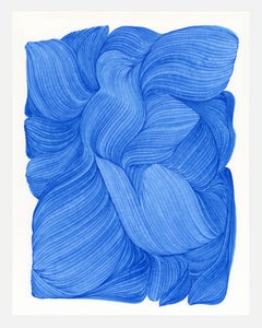 Lines 8 - abstract geometric bright blue ink drawing on paper