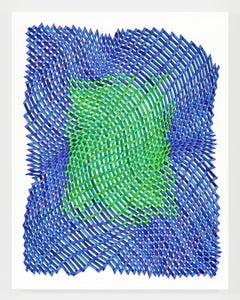 Woven lines 51 - abstract geometric blue green dominant ink drawing on paper