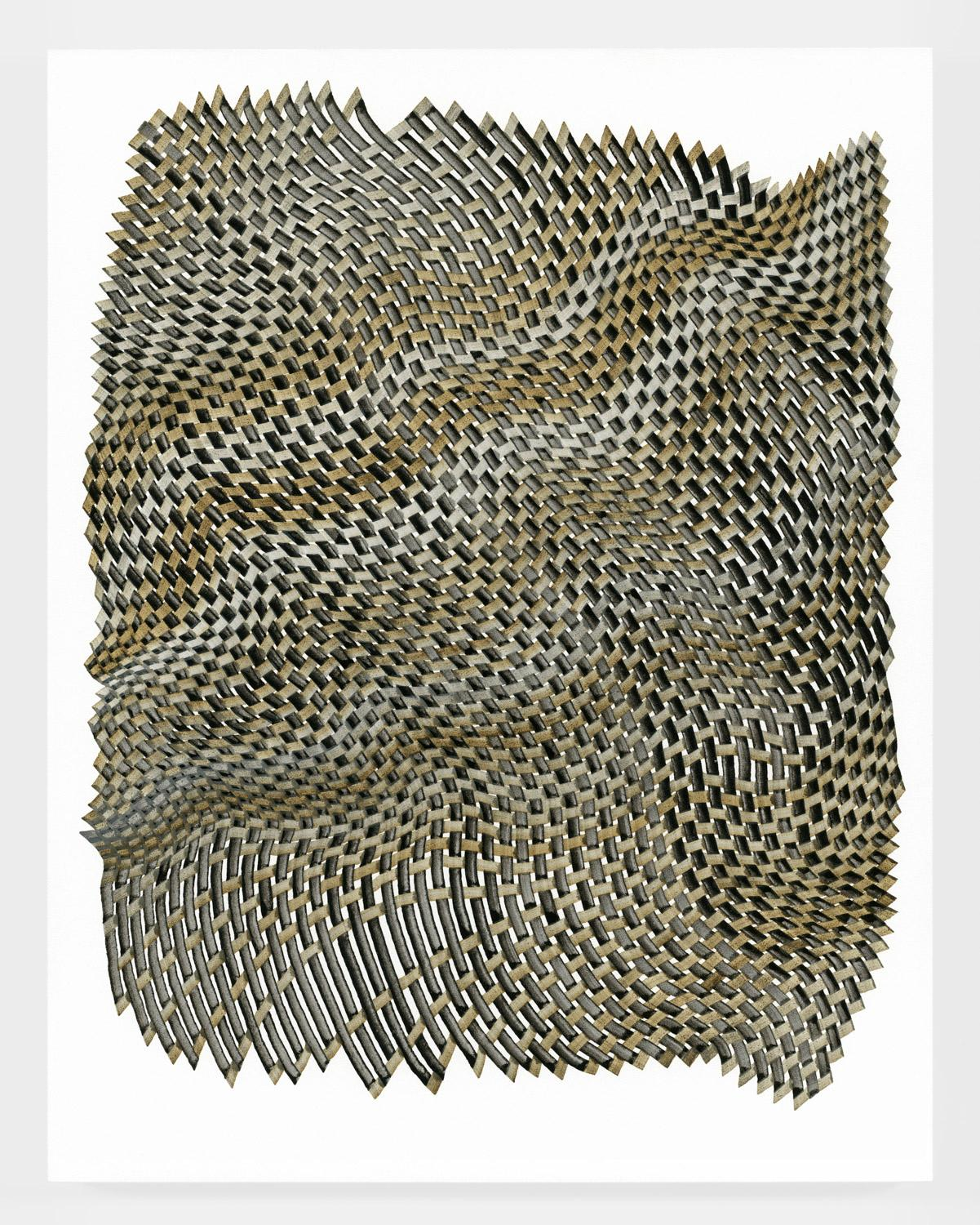 Woven lines 44 - abstract geometric brown grey dominant ink drawing on paper