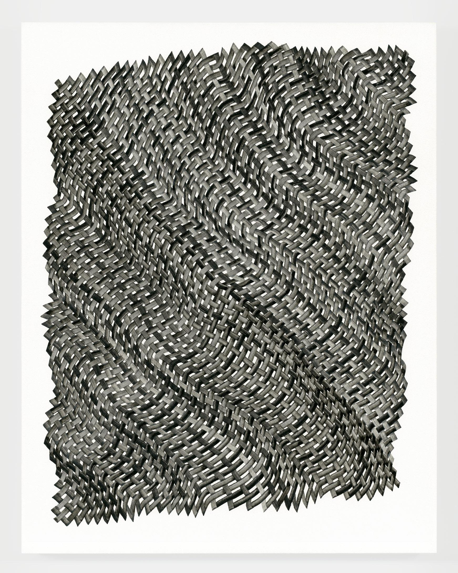Woven lines 49 - abstract geometric black grey dominant ink drawing on paper