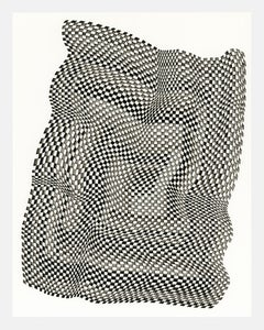 Squares 32 - abstract geometric black and white ink drawing on paper