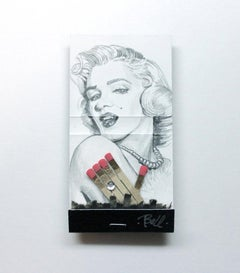 Marilyn Monroe- figurative black and white portrait drawing on matchbox