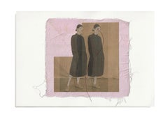She 54 - brown pink contemporary embroidered photo transfer of women on fabric