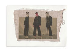 She 55 - brown pink contemporary embroidered photo transfer of women on fabric