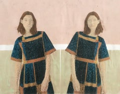 Their 2 - contemporary embroidered photo transfer of women on fabric