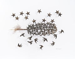 Swallows and stars -turkey feather back and white abstract composition on paper