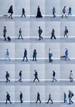 Xan Padron, Photography people walking in SoHo New York City. Blue. Cityscape.