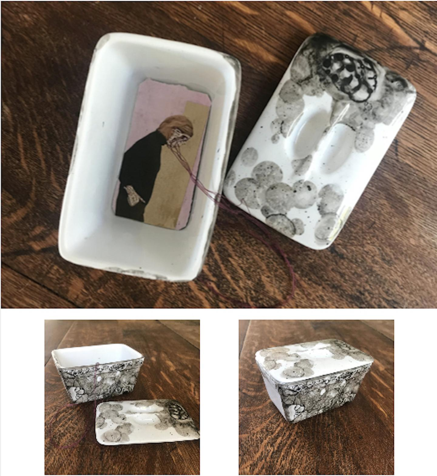 Terrine 3- embroidered photo transfer of women on fabric in vintage ceramic
